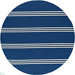 Momeni Veranda Maritime Blue Stripes Indoor/Outdoor Rug (9' X 9' Round)