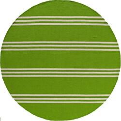 Momeni Veranda Lime Stripes Indoor/Outdoor Rug (9' X 9' Round)