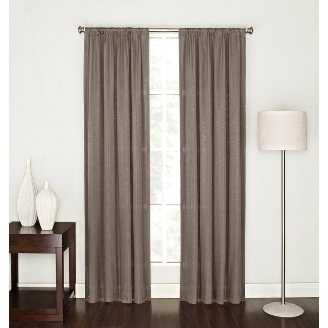 Tavonne Chocolate Sequin 84-Inch Rod Pocket Curtain Panel
