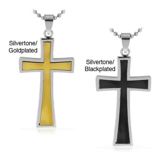 Stainless Steel Two-tone Classic Inlay Cross Necklace