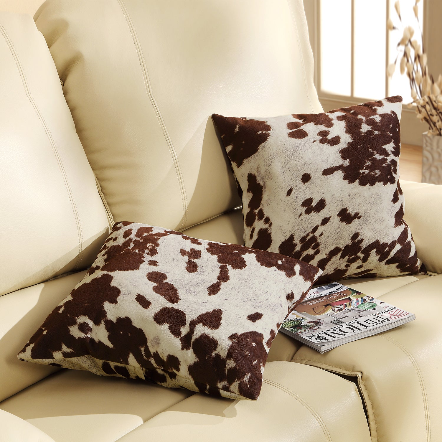 Cow Print 18 Inch Throw Pillows Set Of 2 Country Rustic Farmhouse Sofa Bed Decor