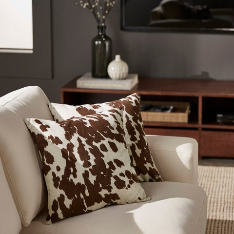 Decor Cow Hide Print 18 Inch Throw Pillow by iNSPIRE Q Bold (set of 2)