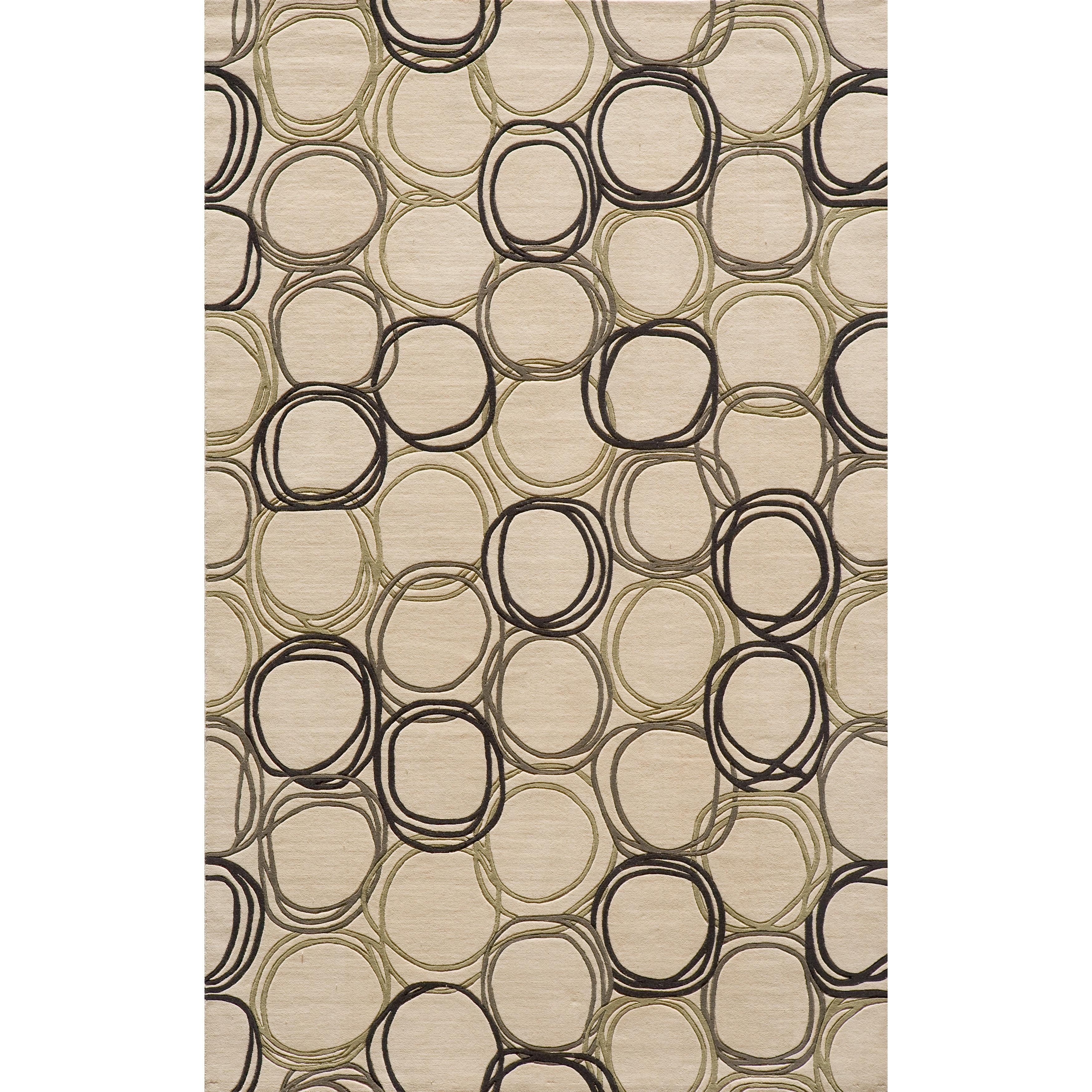 Soho Triple Circles Power-Loomed Ivory Wool Rug (8' x 11')
