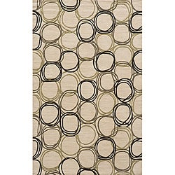 Soho Triple Circles Power-Loomed Ivory Wool Rug (3' x 5')