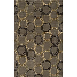 Soho Triple Circles Power-Loomed Grey Wool Rug (8' x 11')