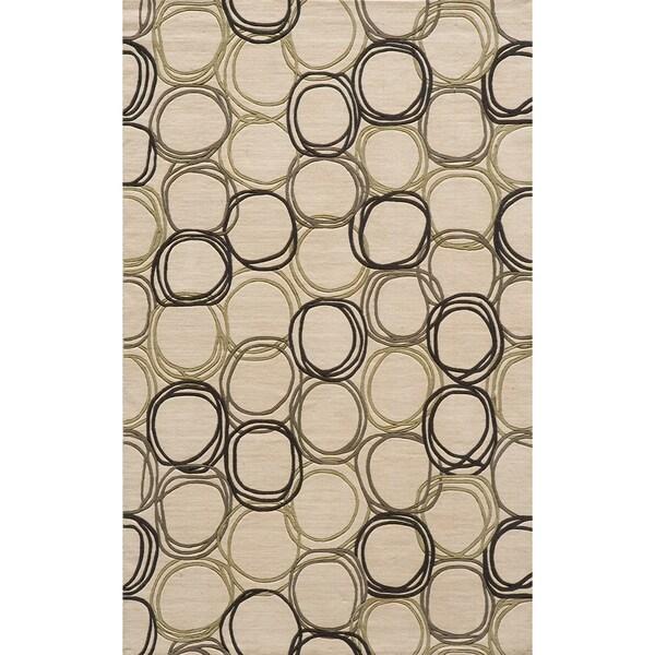 Soho Triple Circles Power-Loomed Ivory New Zealand Wool Rug (9'6 x 13'6)