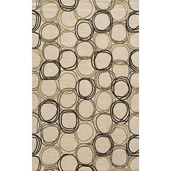 Soho Triple Circles Power-Loomed Ivory New Zealand Wool Rug (9'6 x 13'6)