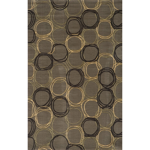 Soho Triple Circles Power-Loomed Grey Wool Rug (9'6 x 13'6)