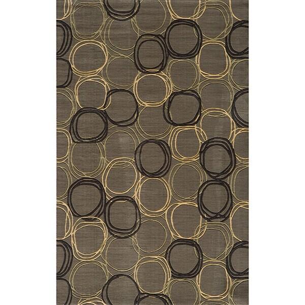 Soho Triple Circles Power-Loomed Grey Wool Rug (5' x 8')