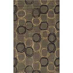 Soho Triple Circles Power-Loomed Grey Wool Rug (3' x 5')