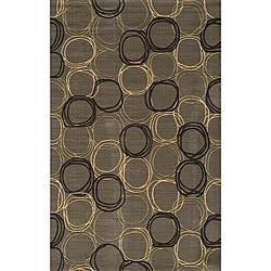 Soho Triple Circles Power-Loomed Grey Wool Rug (2' x 3')