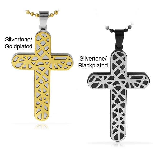 Two-tone Stainless Steel Art Deco Cross Necklace