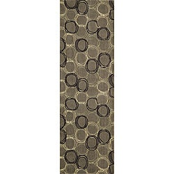 Soho Triple Circles Power-Loomed Grey Wool Rug (2'6 x 8')