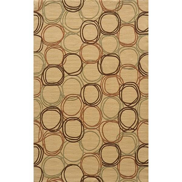 Soho Circles Gold Wool Rug (8' x11')
