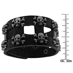 Brown Leather Adjustable Wide Bracelet - Thumbnail 2