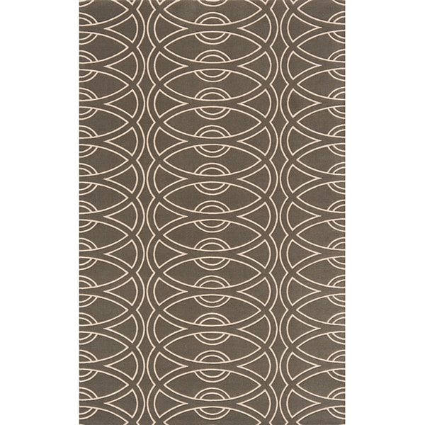 Soho Chic Power-Loomed Grey Wool Rug (9'6 x 13'6)