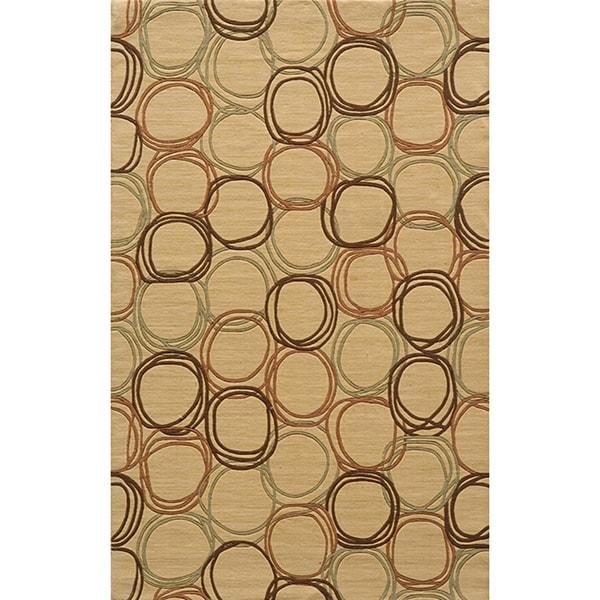 Soho Circles Gold Wool Rug (3' x 5')