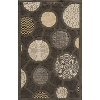 Soho Fashion Power-Loomed Charcoal Wool Rug (2' x 3')