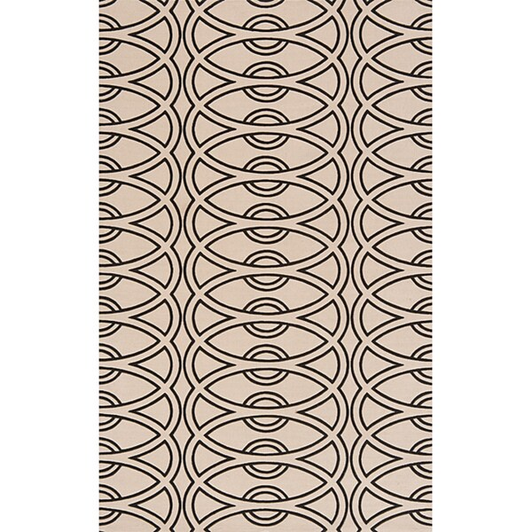 Soho Chic Power-Loomed Ivory Wool Rug (5' x 8')