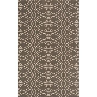 Soho Chic Power-Loomed Grey Wool Rug (5' x 8')