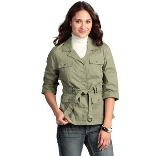 Live a Little Women's Belted Roll Sleeve Jacket