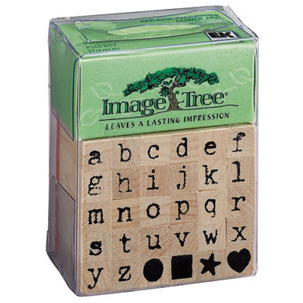 Image Tree Handle Rubber Stamp Set-Antique Typewriter Alphabet/Lower