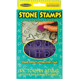 Stone Stamps - 20 Double-sided Victorian-style Letters and Numbers
