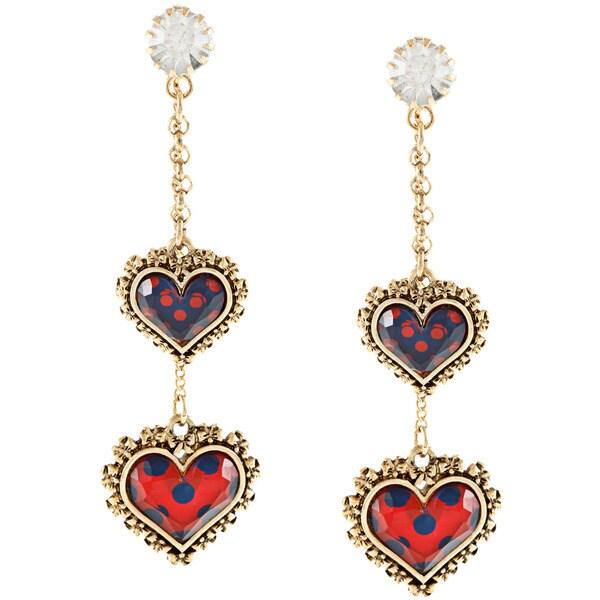Betsey Johnson Cubic Zirconia Goldtone Coral Polka Dot Heart Dangle Earrings