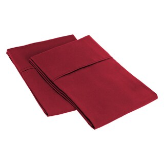 Superior Microfiber Wrinkle-resistant Solid Plain Weave Pillowcases (Set of 2) (Option: King/ Burgundy)