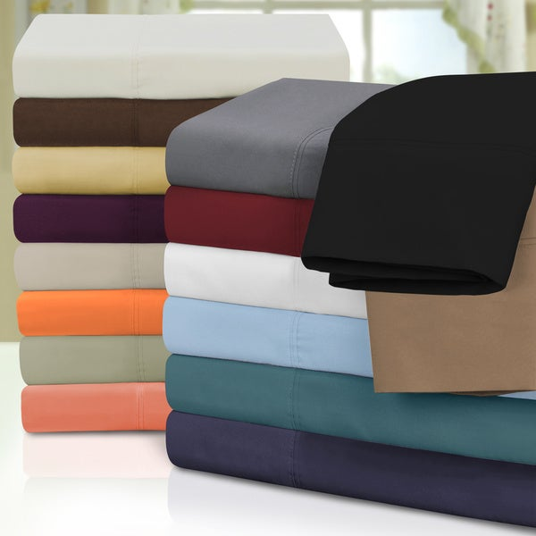 Superior Microfiber Wrinkle-resistant Solid Plain Weave Pillowcases (Set of 2)