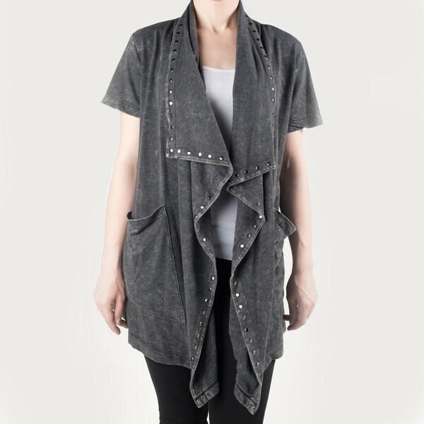 Tabeez Women's Studded Short Sleeve Cardigan