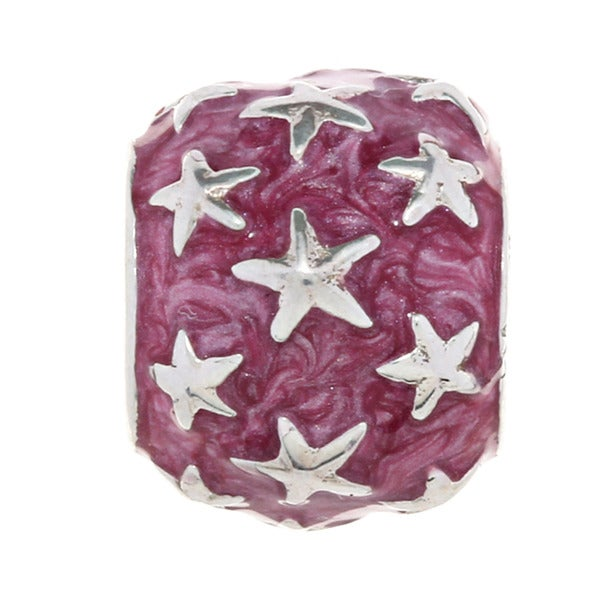 Sterling Silver and Enamel Red Star Charm Bead