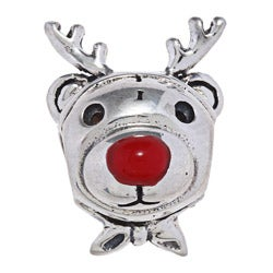 High-polish Sterling-silver Reindeer Charm Bead with Red Enamel Nose