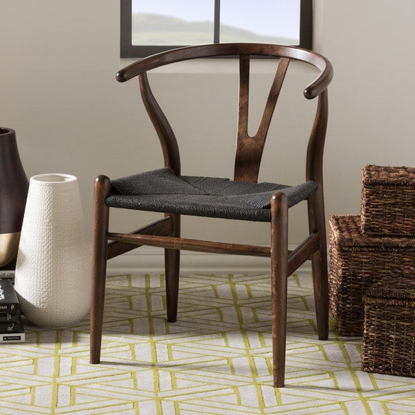 Baxton Studio Wishbone Modern Dark Brown Wood Dining Chair with Black Hemp Seat