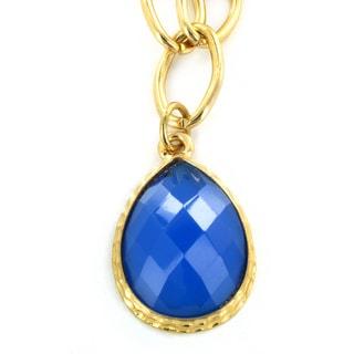 Goldtone Colored Resin Stone Teardrop Necklace