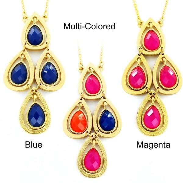 Goldtone Colored Resin Stone Teardrop Cluster Necklace
