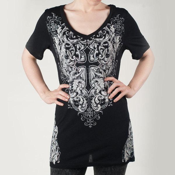 Tabeez Women's Plus Black Rhinestone Cross Tee