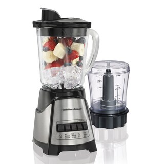 Hamilton Beach Black 12 Speed Glass Jar Blender with Food Chopper