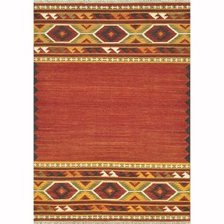 Hand-woven Cordova Red/ Gold Rug (5' x 7'6)