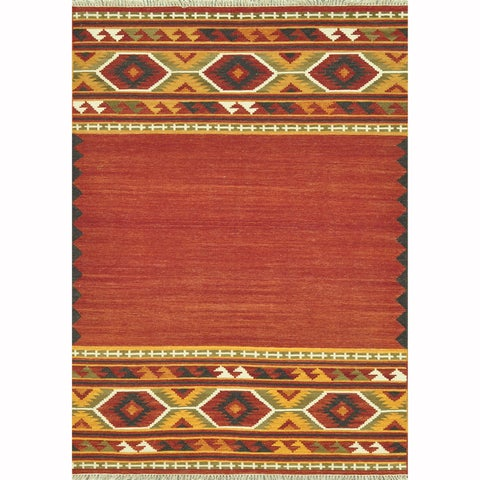 Hand-woven Southwestern Red/ Gold Area Rug - 5' x 7'6