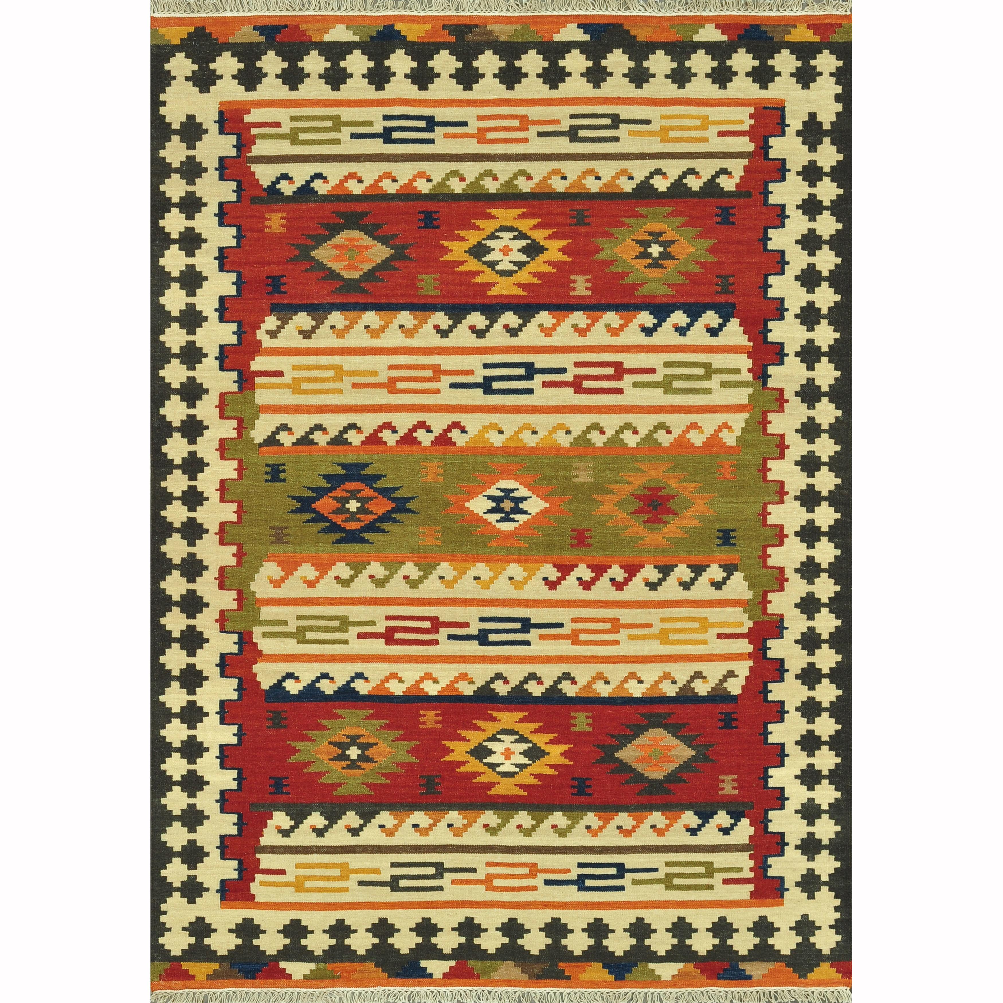 Hand-woven Cordova Multi Rug - Red/Multi - 7'6 x 9'6
