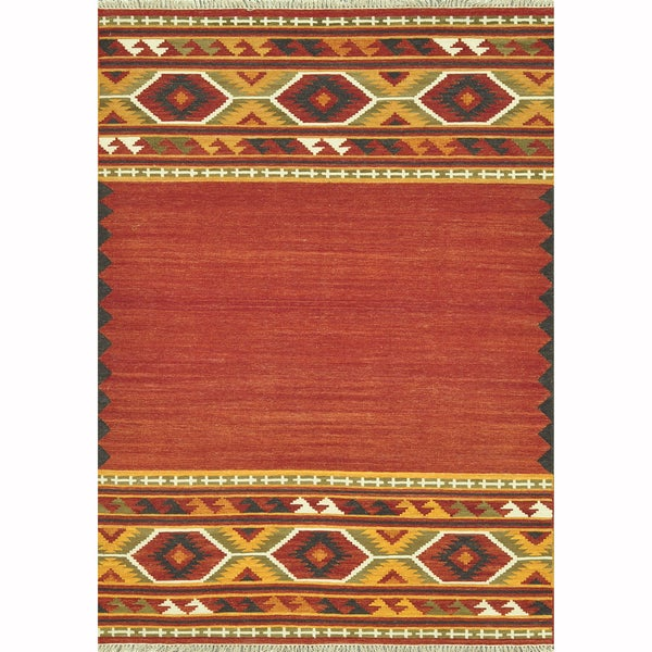 Hand-woven Cordova Red/ Gold Rug (7'6 x 9'6)
