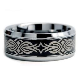 Tungsten Carbide Two-tone Laser-etched Tribal Ring (9 mm) - Thumbnail 1