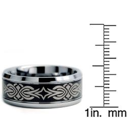 Tungsten Carbide Two-tone Laser-etched Tribal Ring (9 mm) - Thumbnail 2