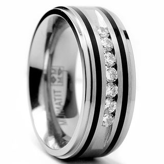 Oliveti Titanium Cubic Zirconia Men's Ring with Resin Inlay (9mm) (More options available)