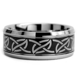 Tungsten Carbide Men's Two-tone Laser-etched Noble Celtic Ring (9 mm)