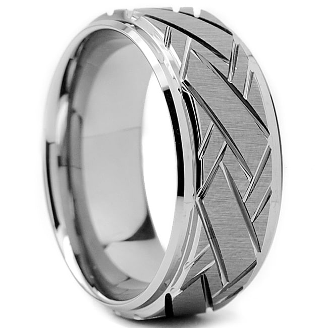 Tungsten Carbide Men's Weave Grooved Pattern Ring (9 mm) - Thumbnail 0