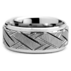 Tungsten Carbide Men's Weave Grooved Pattern Ring (9 mm) - Thumbnail 1