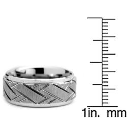 Tungsten Carbide Men's Weave Grooved Pattern Ring (9 mm) - Thumbnail 2