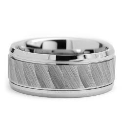 Tungsten Carbide Men's Chiseled Center Ring (9 mm) - Thumbnail 1